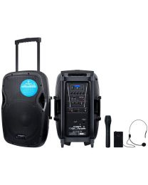 KAM RZ12A V3 Portable PA with media player, USB & SD card input, plus VHF dual microphone wireless system and Bluetooth connection