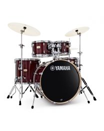 """Yamaha Stage Custom 22"""" 5 Piece Shell Pack w/ Hardware, Cranberry Red"""